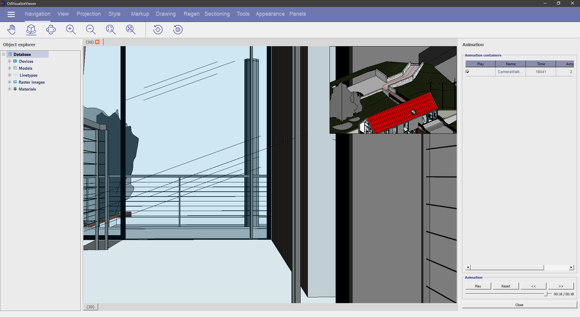 Screen capture of a building walk-through generated by ODA Visualize SDK